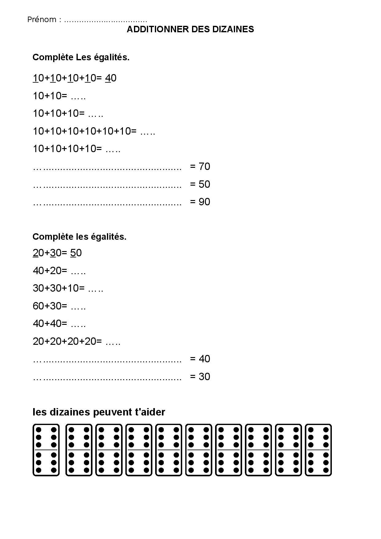 Decomposer Et Additionner Des Nombres Ce1 Ce2 Les Dizaines