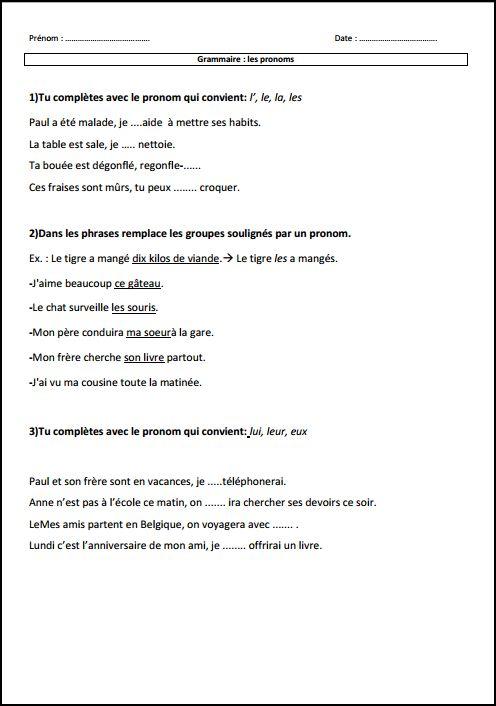 Grammaire Les Pronoms Exercices Evaluations Traces Ecrites